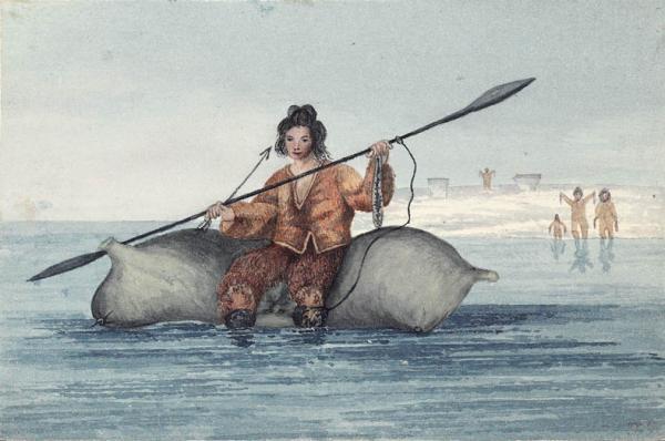Ein Jäger der Sallirmiut beim Walfang, Zeichnung um 1830