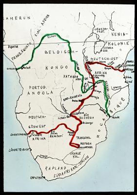 Die rote Linie der Karte zeigt die Auto-Tour, die grüne die Bootsfahrt