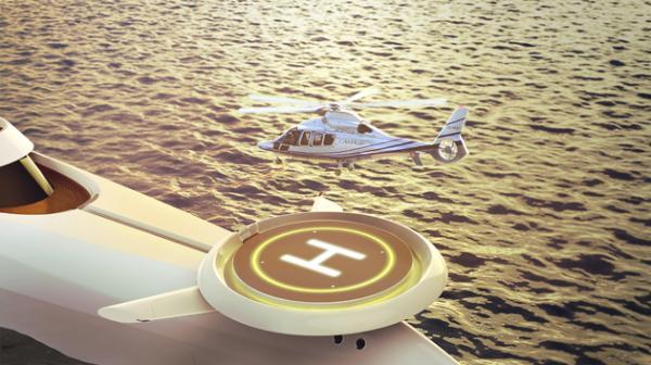 Hubschrauber-Landeplatz auf dem Bugbereich