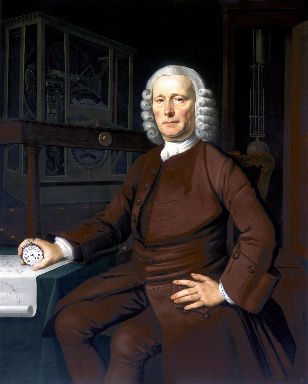Uhrmacher Thomas Harrison mit der H4 © Science Museum, Science and Society Picture Library, London